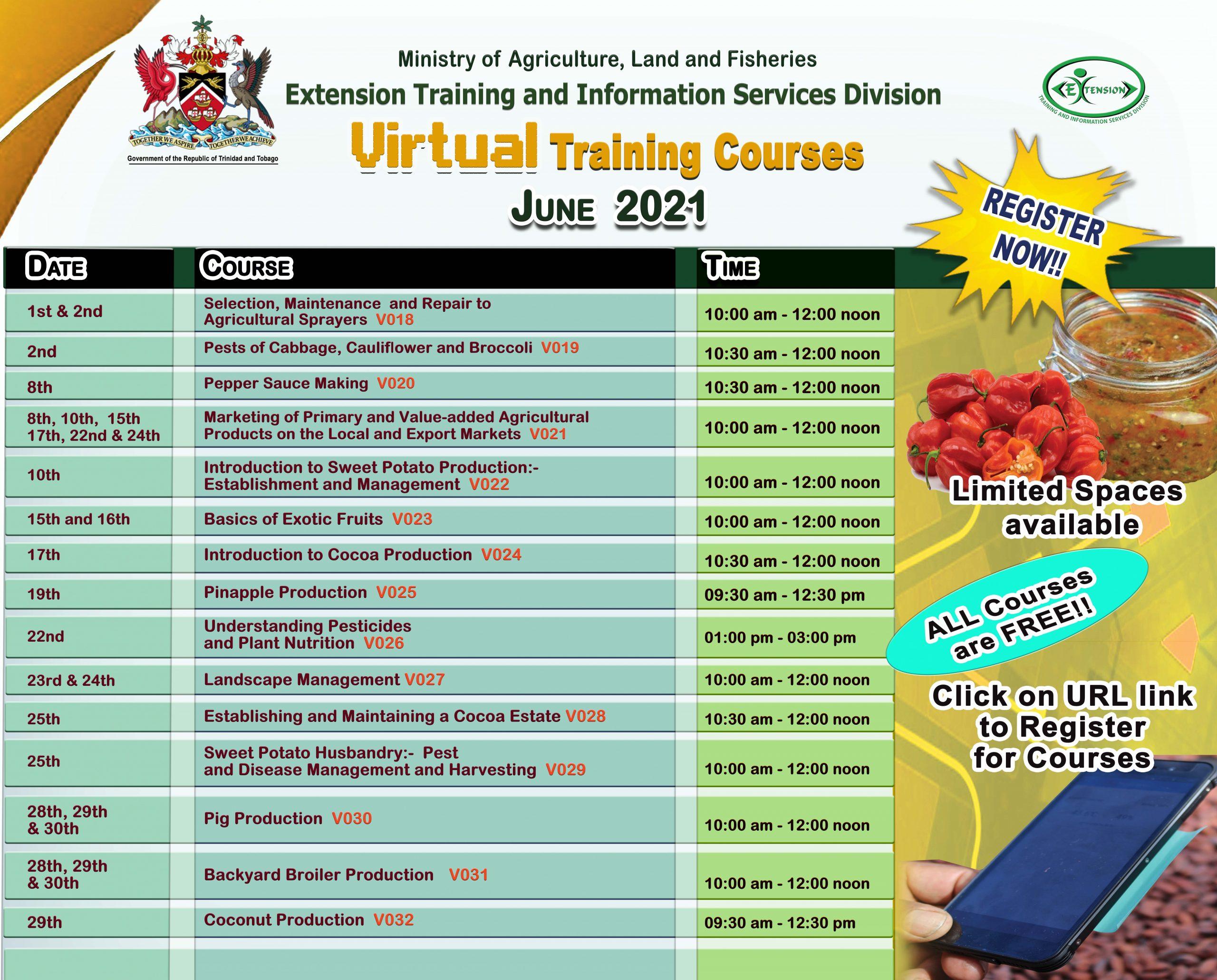 virtual training course ad June 2021 landscape no names